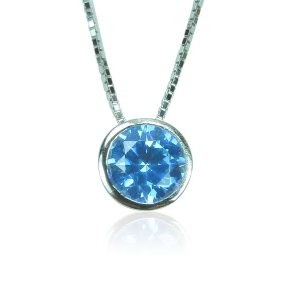 Birthstone necklace in sterling silver with crystal birthstone.
