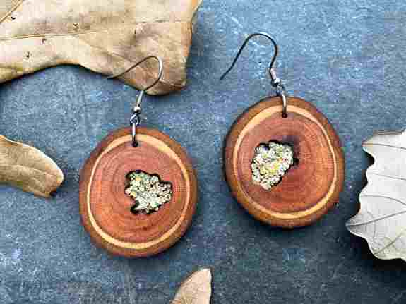 """""""Patience"""" Plum Earrings with lichen inlay"""