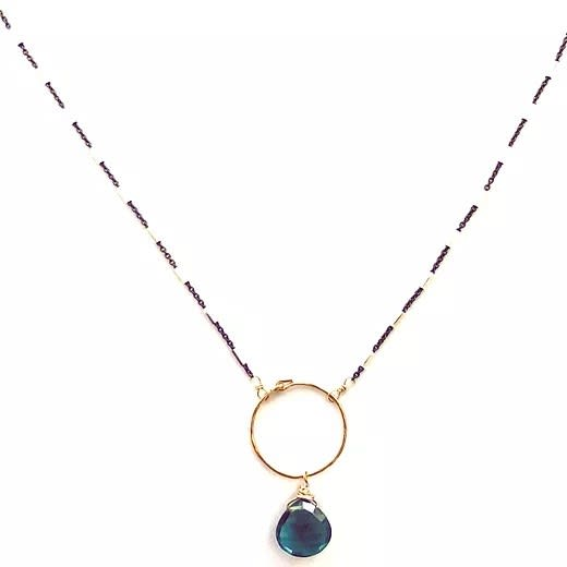 Indicolite quartz mixed metal necklace