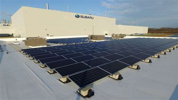 Subaru North America has pledged to reduce their energy dependence by moving towards environmentally conscientious usage at their Lafayette IN, facility. Jefferson Electric designed, delivered and installed the array that's getting them towards that goal.