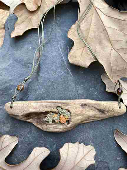 """""""Countermand"""" Driftwood Necklace with lichen inlay"""