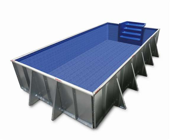 The Cool Pools Rectangle option with blue liner. Available in 4 sizes.