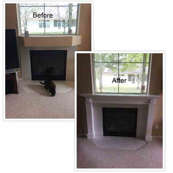 A traditional fireplace surround and mantle was a desired upgrade for the new owners of this home.