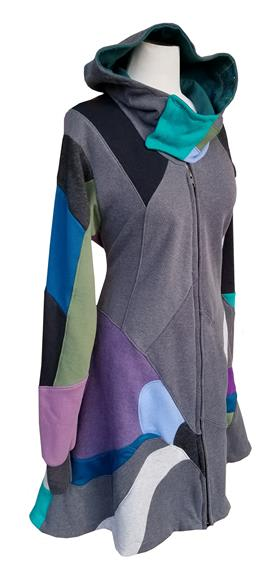 This is a one of kind jacket made using 100% upcycled hoodies, sweaters and t-shirt. This complex and elegant jacket features striking design lines to give you a stand out look. The asymmetric hood is raised for a cowl-shape, with snaps that close it. The