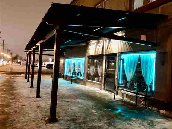 Commercial Motorized Pergola/Awning on Restaurant<br />for outdoor expanded dinning area