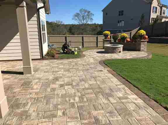 Pavers, Firepit and Seat Wall