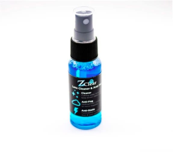 Z CLEAR SPRITZ<br />A safe lens cleaner and anti-fog spray for glasses, face masks, shields, mirrors, and goggles. Our spray lens cleaning solution does not contain harmful ingredients and can be used daily to prevent and minimize fog effects on glasses.