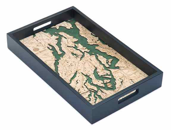 "Puget Sound 13"" x 20"" serving tray. Map is covered with acrylic.  We also offer custom trays of any area."