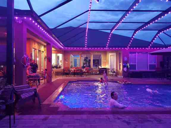 String lights are outdated.  how about custom controlled, full color LEDs to make your pool enclosure look amazing!