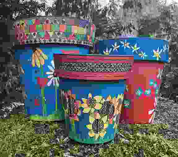 """Painted Peace Garden Planters....so many to choose from.  18"""", 15"""" and 12"""""""