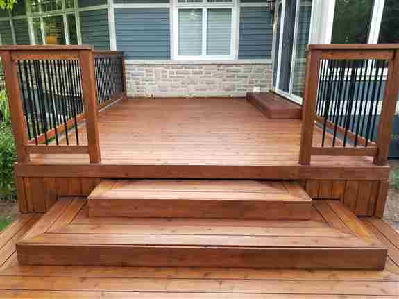 Cedar deck finished in Sansin DEC Roasted Almond