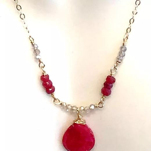 Ruby and labradorite Necklace