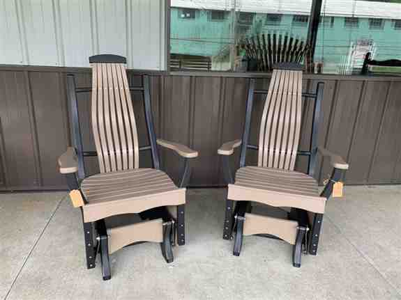 We offer our clients a variety of outdoor poly products from more than a dozen different builders. <br /><br />Floor Model at Show: 2 Polybent Gliders with a matching Side Table.  Retail on Floor Model is $1071 - purchase of Floor Model Special $964.