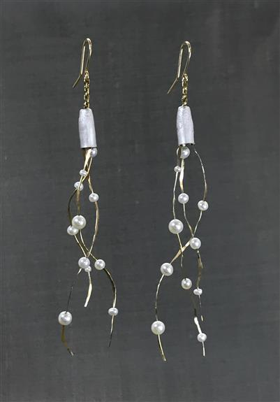Sea Kelp Collection - Earrings, necklace, and bracelet in 14k gold, sterling silver and freshwater pearls. Organic and elegant.