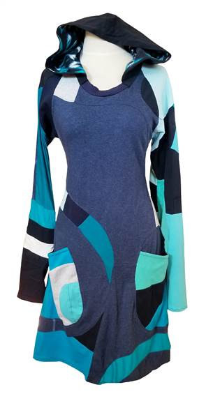 This is a one of a kind dress made using 100% upcycled t-shirts. She has full-length asymmetric sleeves and features an open-neck with a lined hood. The hood is fully functional!  The Release dress is made in an A-Line silhouette, which means it is fitted