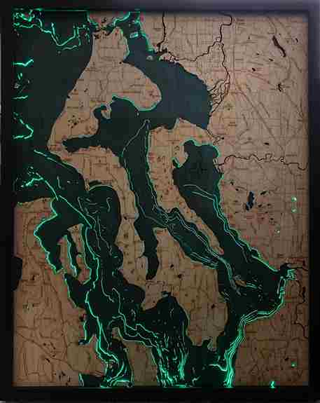 Whidbey and Camano Islands backlit 3d Wood Map. Comes with 20 colors LED backlighting and remote control. Also available without backlighting.