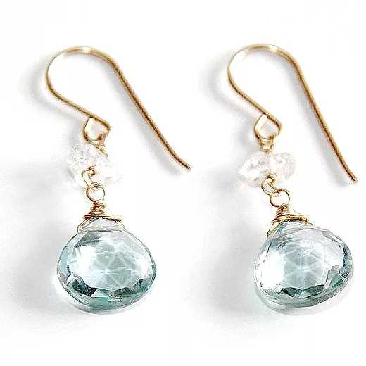 Blue topaz and Herkimer diamond earrings