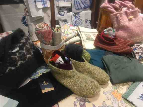Lots of cozy warm items! Slippers and bags are all one of a kind and are constantly changing. Handcrafted by Francesca because of her great passion for wool and her creativity.Take a trip to the mountains looking at the products here!