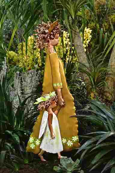 Madonna of the Lilies & Cherub in Philadelphia Flower Show Garden 2020