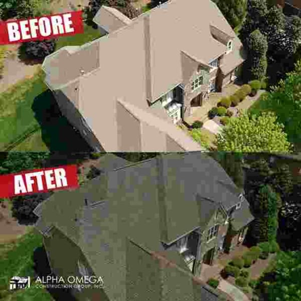 Before and After with new Alpha Omega Roof