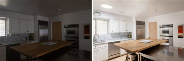 Before and after showing how much daylight just one Solatube Skylight can bring in!
