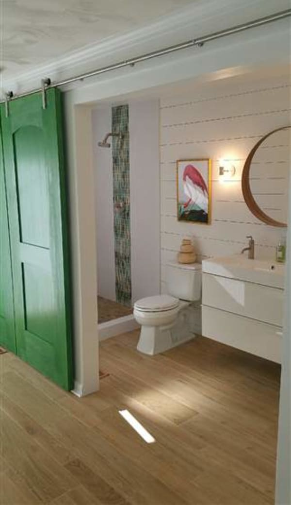 Barn Door with open shower.   Ship lap wall.  Floating European style vanity.