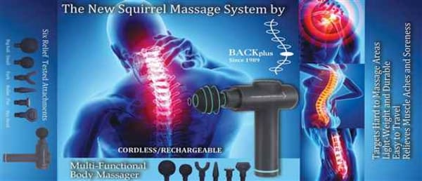 BACKplus® Squirrel Massage System – Vigorous Handheld Massager for Knots Aches and Pains – Deep Tissue Massage Relief – 6 Different Attachments Included