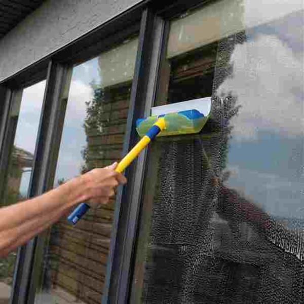 The AquaBLADE Window and Surface Cleaner Kit, made in Italy, consists of a silicone wiper blade with a water conveyance channel/drip tray on one side. It provides quick, easy, residue, and streak-free cleaning, allowing your surfaces to dry almost immedia