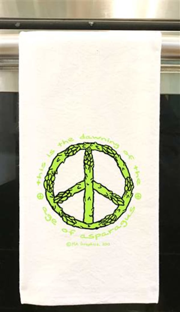 """This Is The Dawning Of The Age Of Asparagus<br />19""""x28"""" 100% Cotton Tea Towel"""