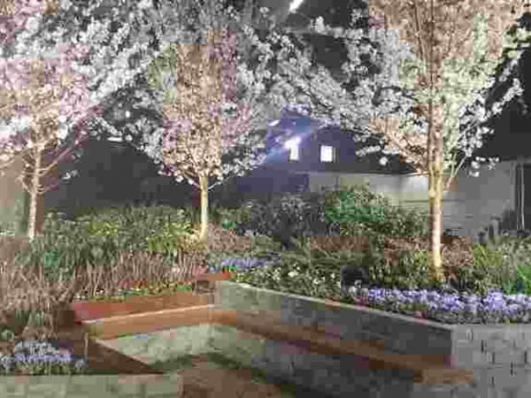 """Beneath the Blossoms"" our 2020 Flower and Garden Show garden entry."
