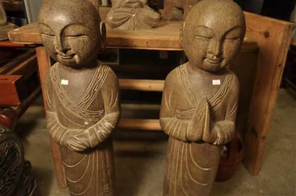 Beautiful Stone Monks.  Standing 40 inches tall they are perfect for garden or yard.  Only 2 available.  Found in Beijing China 1n 2018