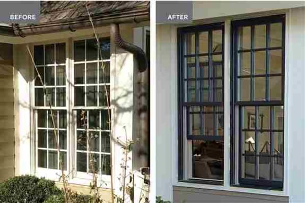 Marvin double hung windows in Ebony with divided lites.