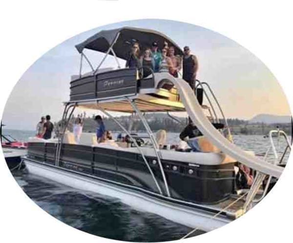 Our newest addition to the fleet, the 31' Premier Skydek, with a 25 person capacity, waterslide, big stereo and a 300HP motor.