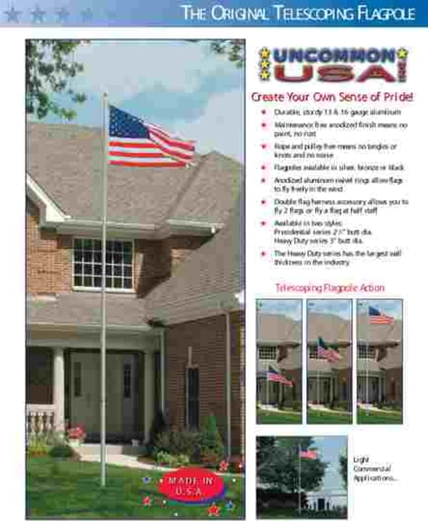 """The Telescoping flagpole in 16', 20' and 25 foot with either a 2 1/2"""" or 3"""" bottom diameter.  Available in silver, black or bronze."""