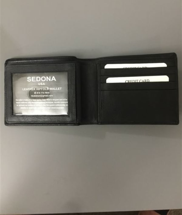 Italian leather bifold wallet, Black with one license window and 11 credit card slots. Black and dark brown.<br />Style #1126