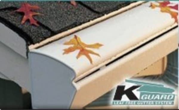 """K-Guard Leaf Free Seamless Gutter System, Clog Free, Leak Free, Sag Free, Worry Free, Guaranteed for Life<br />5"""" & 6"""" Open Top Gutters, Hoods and Toppers available"""