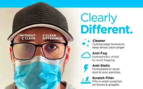 Perfected to be the best Anti Fog and Lens Cleaning Solution on the market.<br /><br />Z Clear understands that glass lenses need more than a simple wipe down to stay clean. Dirt, dust, fingerprints, oils and fog begin to stick to the surface the minute a