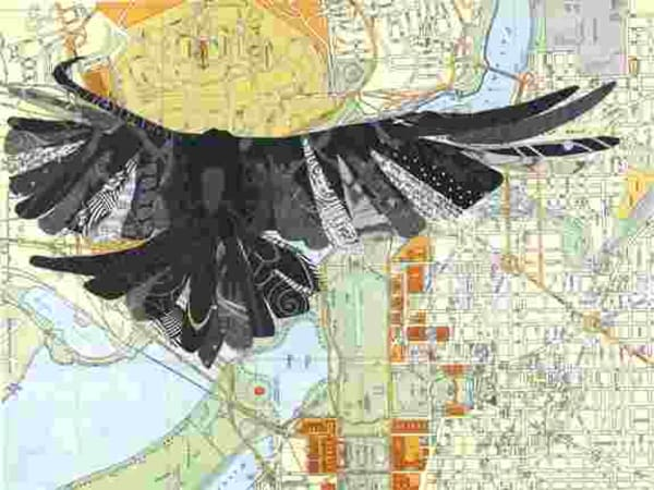 Oversight<br />Crow flying over circa 1970's map of Washington DC<br />Prints Only<br />Matted size: 16 x 20, $90<br />                      11 x 14, $60<br />                       8 x 10, $30