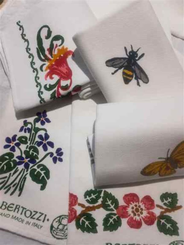 Favorites in every kitchen:<br />50/50 cotton linen Stamperia Bertozzi hand stamped towels. Lots of flowers designs, ferns, fruits and traditional classics in single colors as well.