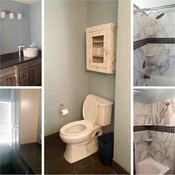 We brought this mid-80's bathroom back to life with contemporary tile and cabinets.