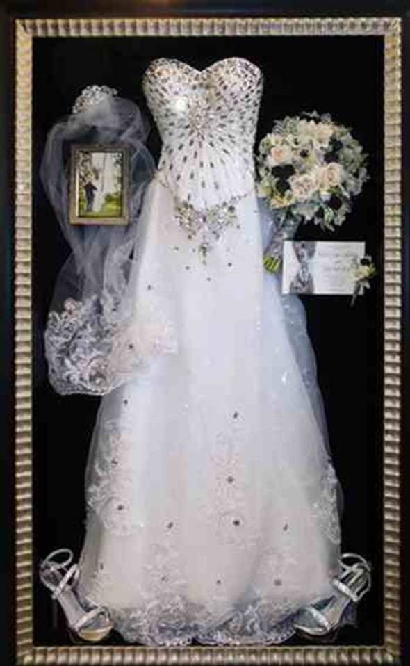 Preserve and frame you wedding dress in one of our custom shadow boxes.