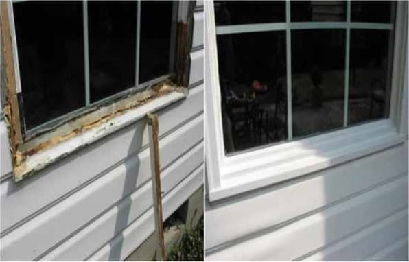 We can repair your wood rot to go from this (left side) to this (right side). The product used will no longer rot.