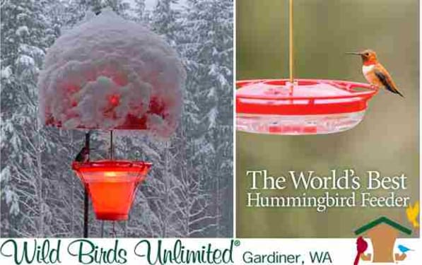 Wild Birds Unlimited makes the Worlds Best Hummingbird Feeder, Hands Down. This feeder is made in the USA, Dishwasher Safe, Does Not Leak or Drip, and You can See All the Hummingbirds Feeding from all the Ports. Weather Domes, Heaters & Nectar Available.