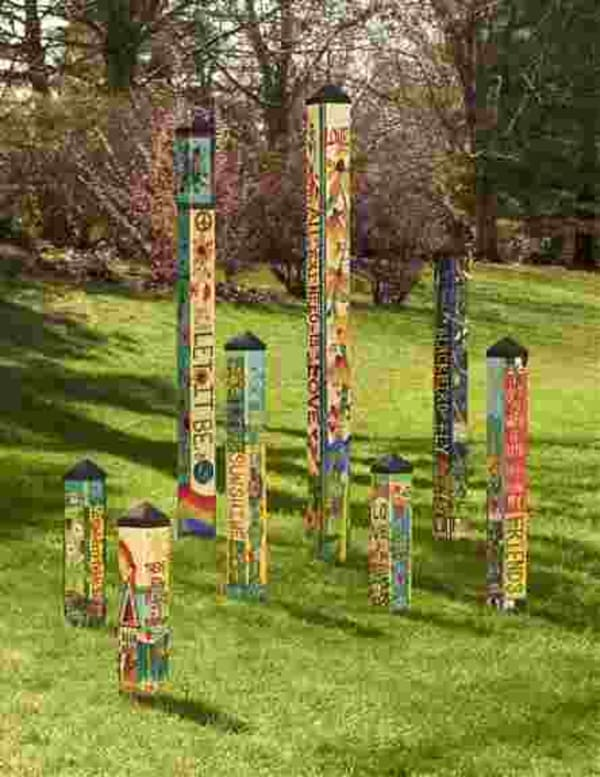 The Lyric Project.  Art by Stephanie Burgess combined with the lyrics of John Lennon and Paul McCartney.  Permission given by Sony epic in 2018.  Products include Art Poles, Birdhouses, and Garden Flags/Banners