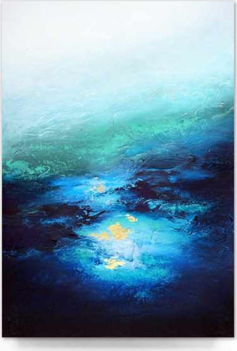 """""""Under Great Depths"""" 24""""x 36"""" Acrylic paint, heavy texture and gold leaf on stretched canvas.<br /><br />Custom recreation available in any size or color range!"""