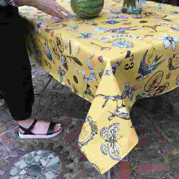 Tablecloths for outdoor/indoor. Our laminated cotton saves you laundry, just wipe it off. Toxic-free, eco-friendly, food-safe. And they make you happy!