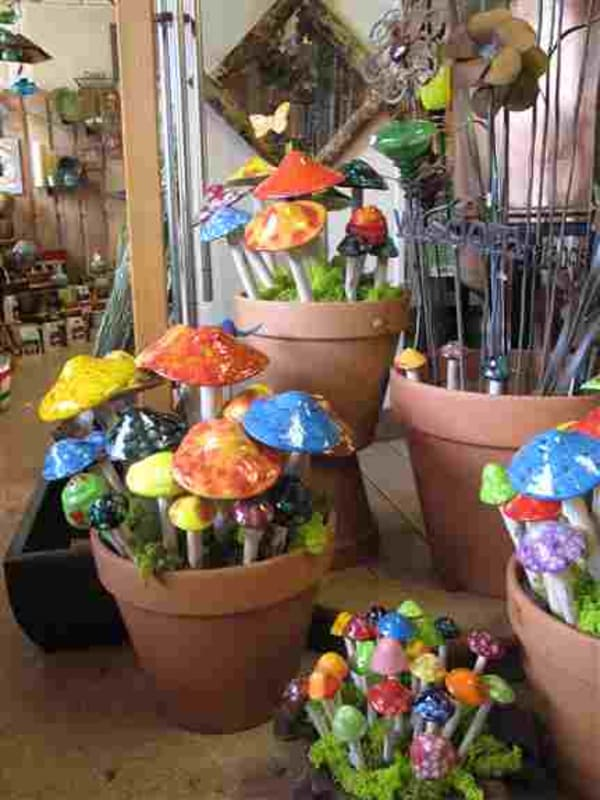 Ceramic mushrooms to bring color and whimsy to your garden. Guaranteed to make you smile