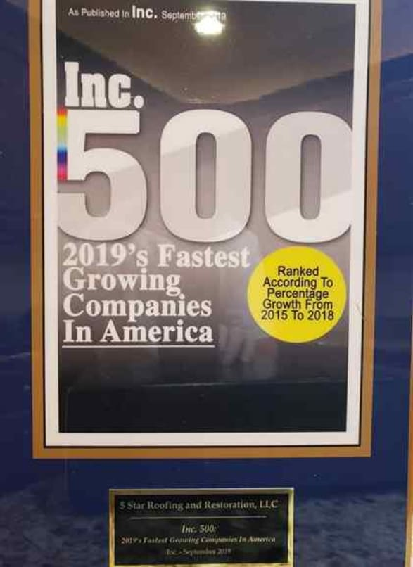 2019 Inc. 500 Fastest Growing Companies in America