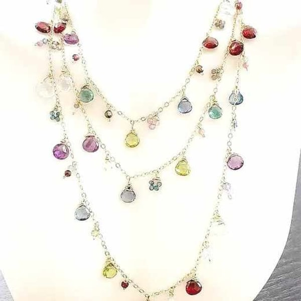 "Long 36"" multi gemstone necklace in 14kt GF"