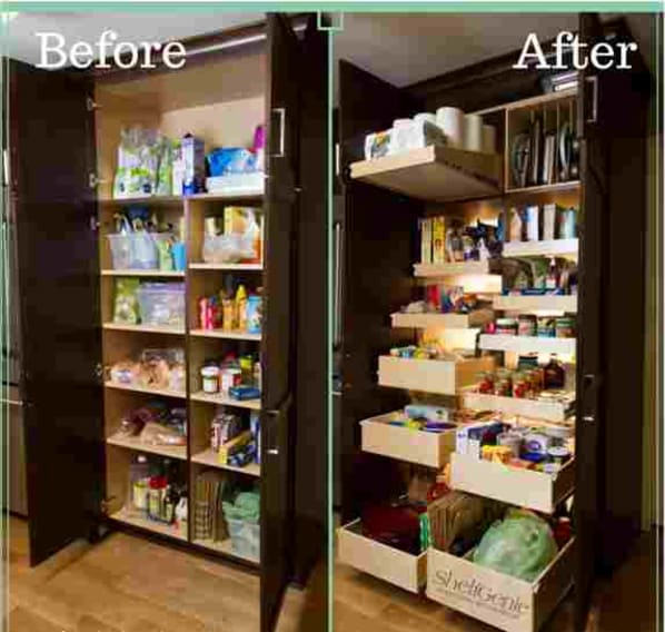 Before and After picture of cabinet pantry.